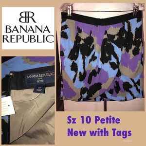 BANANA Republic print faux wrap skirt 10 petite